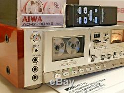 80s KING NEW AIWA AD-6900 MKII 3-Head Tapedeck Cassette REMOTE +SIDE PANELS